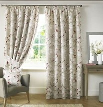 Trailing Floral Flowers Red White Lined Pencil Pleat Curtains 9 Sizes - $58.67+