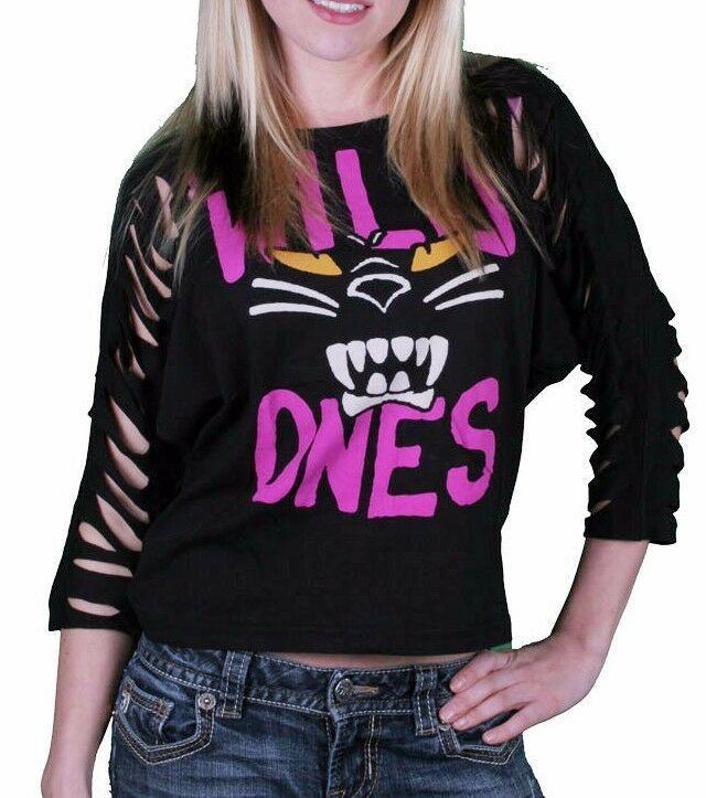 Iron Fist Women's Black Panther Pink Wild Ones Slashed 3/4 Sleeve Crop T-Shirt