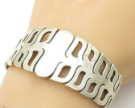 MEXICO 925 Silver - Vintage Open Designed Wide Tapering Cuff Bracelet - ... - $149.13