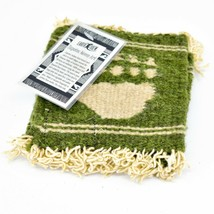 Handmade Zapotec Indian Weaving Hand-Woven Bear Paw Green Wool Coaster Set of 4 image 2