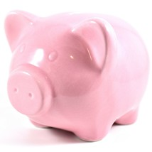 Applesauce Pink Pig Baby Ceramic Still Piggy Savings Bank image 2