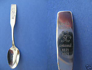 Primary image for BRITISH COLUMBIA CENTENNIAL Souvenir Collector Spoon 1871 1971 Commemorative I.S