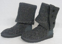 NIB! UGG Lattice Cardy Sweater Boots in Charcoal Grey. US Women's Size 7 - $149.00