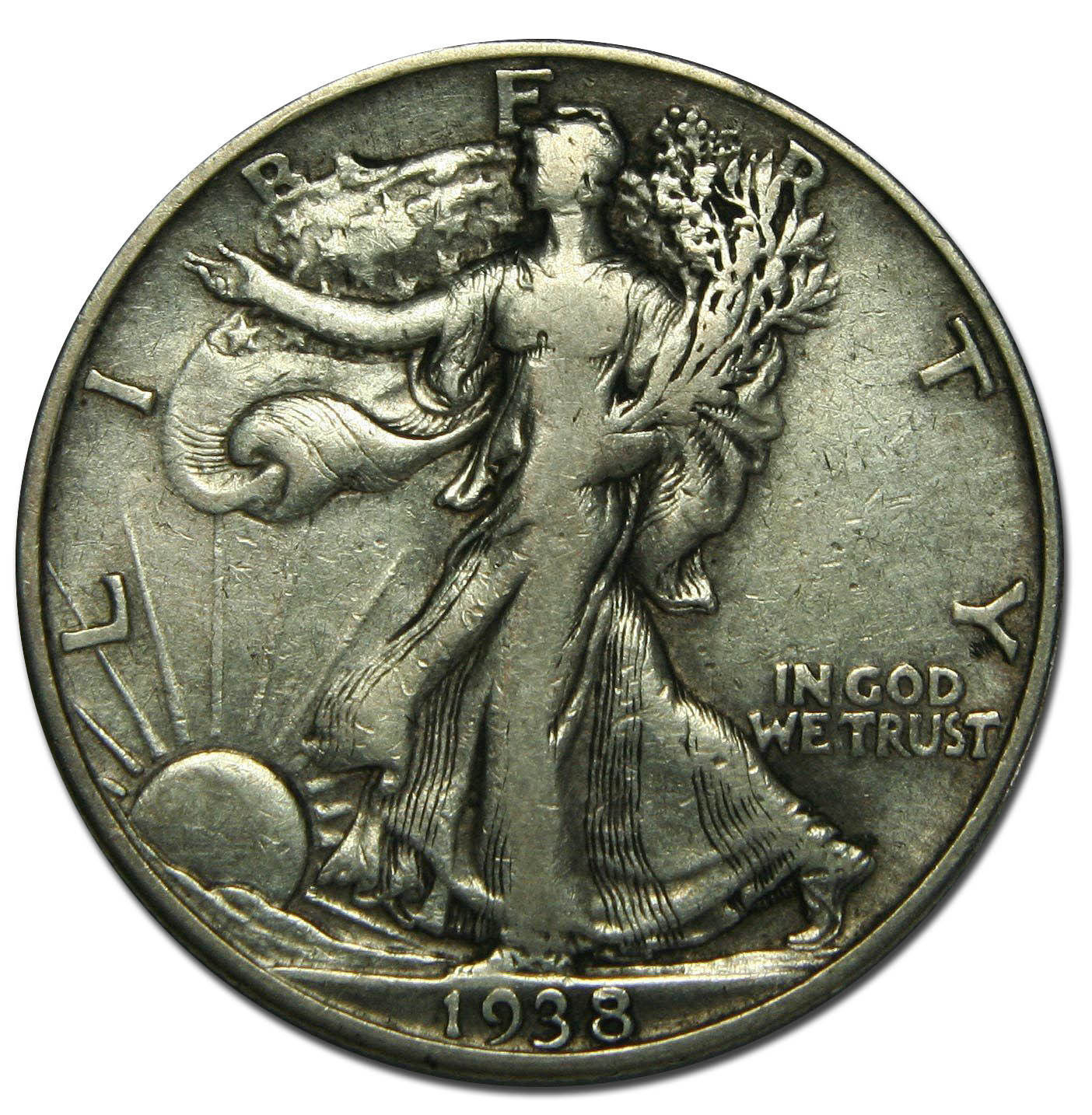 1938D Walking Liberty Silver Half Dollar Coin Lot# MZ 2545