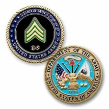 "ARMY SERGEANT E-5  MILITARY RANK 1.75"" CHALLENGE COIN - $16.24"