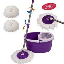 Easy Magic Floor Mop 360 Bucket 2 Heads Microfiber Spin Spinning Rotatin... - $34.99
