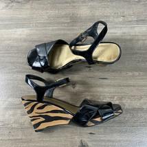 Anne Klein Black Peep Toe Heels Pump Sandals Size 8 M Zebra Print Ankle Strap  - $8.95