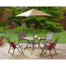 Dining 6 Pc Set Outdoor Patio Garden Yard Furniture Folding Chair Table ... - $218.88