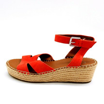 Franco Sarto Woman Wedge Heel Espadrille Sandal Coral Suede Ankle Strap Sz 8.5 M - $39.59