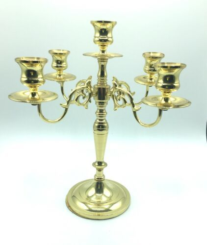 "Vintage Baldwin 11"" Solid Polished Brass 4 Arm 5 Candle Candelabra Holder USA"