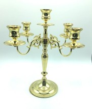"Vintage Baldwin 11"" Solid Polished Brass 4 Arm 5 Candle Candelabra Holder USA image 1"