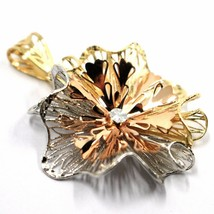 18K YELLOW WHITE ROSE GOLD FLOWER, ONDULATE, FINELY WORKED RAYS PETALS PENDANT image 2