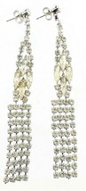 VINTAGE RHINESTONE MARQUISE COOL DROP DANGLE CHANDELIER EARRINGS POST GO... - $101.24