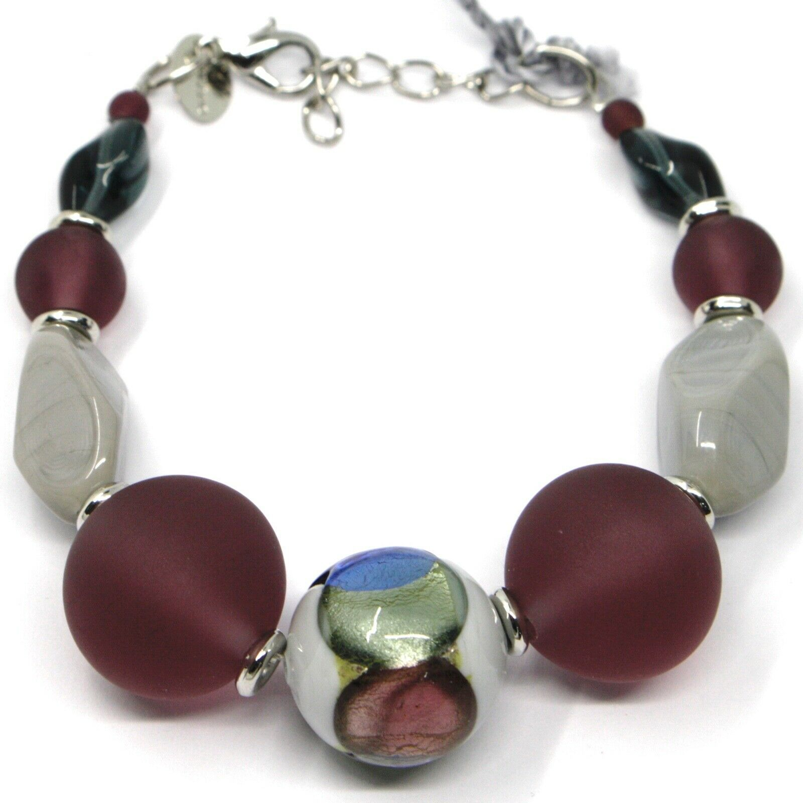 BRACELET GRAY PURPLE MURANO GLASS SPHERE & SILVER LEAF, MADE IN ITALY, 18 cm