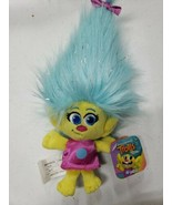 DREAMWORKS TROLL PLUSH DOLL FIGURE SMIDGE YELLOW WITH BLUE HAIR AND PINK... - $8.90