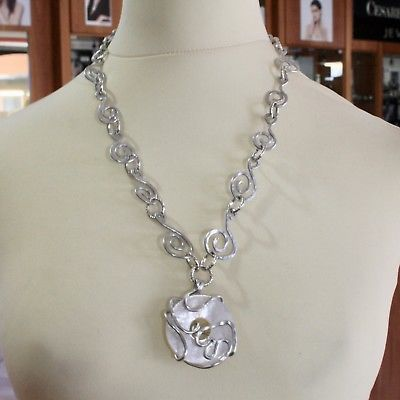 ALUMINUM NECKLACE WITH NATURAL MOTHER OF PEARL HAND-MADE IN ITALY 50 CM 19 IN