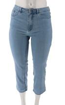 Denim& Co Perfect Denim Crop Length Jeans Bleach Wash 12 NEW A301757 - $27.70