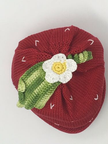 Baby Girls Hand Knit 3pcs Size 24 Months Sweater+Hat+Booties Strawberry Gift NEW image 5