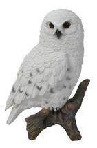"6.7"" Tall Realist Look Snow Owl Standing Resin Figurine Statue - $23.75"