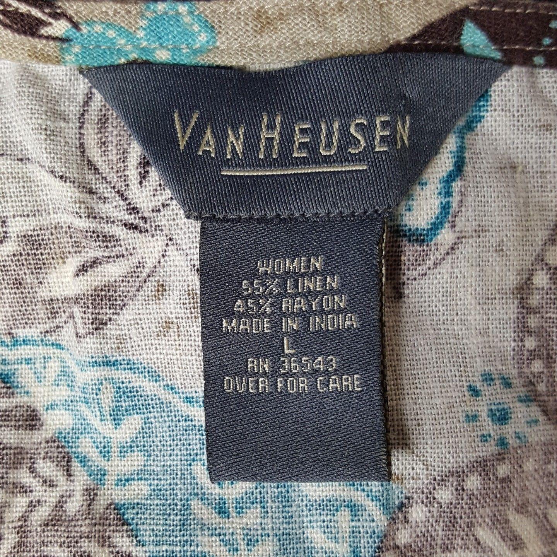 Van Heusen Womens Size Large Brown Blue White Floral Button Up Blouse EUC