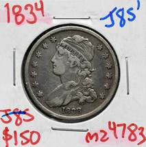 1834 Capped Bust Silver 25¢ Quarter Coin Lot# MZ 4783