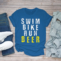 Swimming Funny Tee Triathlon Triathlete Swim Bike Run Beer Funny Unisex - $15.99+