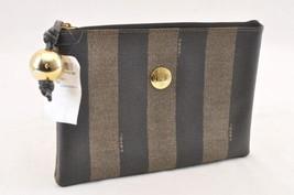 FENDI Pequin Canvas Clutch Bag Black Brown Auth 6422 - $170.00