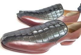 Black Maroon Cont Handmade Moccasin Crocodile Genuine Leather Shoes Size US 9-10 - $179.99+