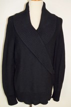 Talbots Sz Large Sweater Black Cotton Wide Collar Textured Thick - $20.56