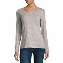 NWT $27  a.n.a OPAL GRAY STRIPE  metallic LONG sleeve tee TOP SIZE petit... - $17.81
