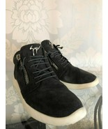 GIUSEPPE ZANOTTI  Charcoal Suede Leather Zipper Sneakers Sz 38.5/US 8.5 ... - $281.06