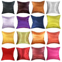 Silk Home Decorative Solid Throw Pillow Cover for Couch Sofa Bed 16x16 2... - £5.87 GBP+