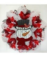 Welcome Snowman Winter Or Holiday Wreath Handmade Deco Mesh - $92.99