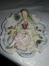 Vintage Chase hand painted wall hanging lady with Gold Shoes Sitting on ... - $15.84