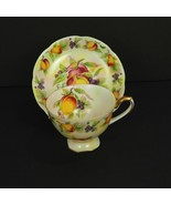 Lefton China Coffee Cup Saucer Fruit Pattern Hand Painted Gold Trim E2722 Signed - $54.45