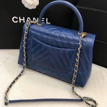 100% AUTHENTIC CHANEL CHEVRON QUILTED ROYAL BLUE MEDIUM COCO HANDLE BAG GHW image 6
