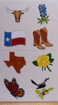 "24"" X 44"" Panel Quilt Across Texas Symbols Flag Bird Cotton Fabric Panel... - $9.97"