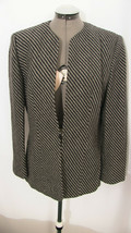 Vintage 80's Anne Klein Black and Gray Wool Blazer - $25.00