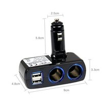 Car Cigarette Lighter Ports - Dual USB Car Charger ( Cable Not Included),BLACK