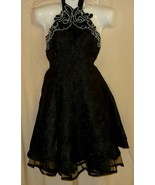 1980's Black Beaded Lace MaDonna Vintage Formal  Halter Dress with Cri... - $88.88