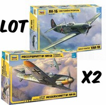 Zvezda LOT OF 2: 1:48 Bf-109G, Yak-1b WW2 fighter airplane model 4816 4817 - $25.48