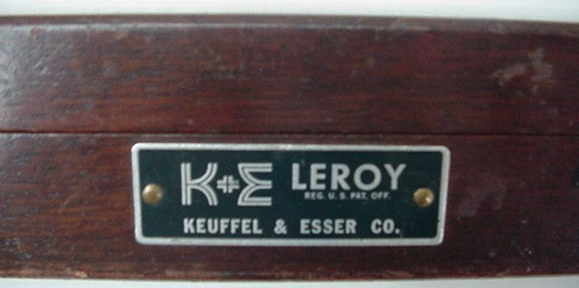 Vintage Esser Keuffel Lettering Templates Wood Box Leroy Set Engraving Stencil