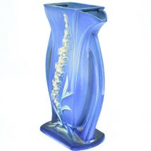 """Vintage Roseville Pottery USA Blue Foxglove Floral Flower 9.25"""" Vase 49-9 image 4"""