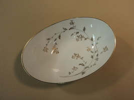 Noritake Andrea 5524 9-in Oval Vegetable White/Gray/Gold Leafs Stems China - $28.34