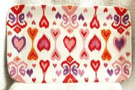 "Williams Sonoma Amour Ikat Heart Rectangular Platter 14 X 8.5"" Nwot #2 - $32.00"