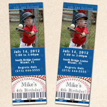 Printable Personalized Baseball Photo Ticket Invitation Card Blue Custom... - $12.99