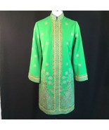 Vtg Green Alfred Shaheen Exotic Mod Tunic Dress Signed Print MCM Polypop... - $58.41