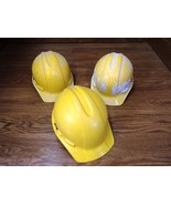 Professional Hard Hats Lot of 3 Yellow/White Plastic - $23.77