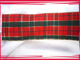 "Wired Red and Green Plaid Gold Ribbon 5 pieces at 1.5 yards each- 2.5"" wide - $4.00"