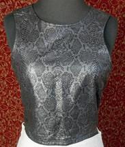 TOMMY HILFIGER black faux leather snake skin backless blouse P (T35-02G8G) - $13.84